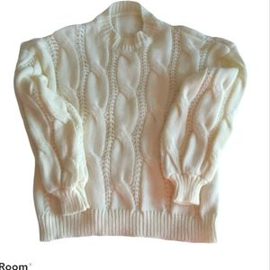 Shein sz L long sleeve white cable pullover cotton